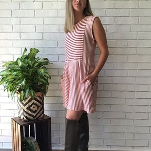 The Impeccable Pig Dresses - The Impeccable Pig Striped Pleated Babydoll Dress